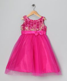 Another great find on #zulily! Fuchsia Rosette Tulle Dress - Toddler & Girls by Shanil #zulilyfinds