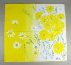 Vera Neumann Vintage Repro Napkins Set of 4 Bright Yellow Flowers | eBay