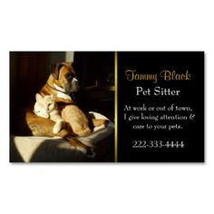 Elegant Pet Care Business Card. This is a fully customizable business card and available on several paper types for your needs. You can upload your own image or use the image as is. Just click this template to get started!