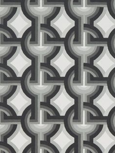 NEW Modern Interlock Circle Upholstery Drapery  Fabric By the Yard Gray, Yellow,  Red