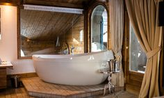 Chalet Hermine is a luxury ski chalet in Courchevel 1850 exclusively run by Kaluma Ski. A traditional 6 bedroom chalet with hot tub. Courchevel 1850, Jacuzzi Hot Tub, Ski Chalet, Skiing, Master Bedroom, France, Luxury, Ski, Master Suite