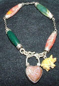 Victorian Silver Scottish Agate  Bracelet Padlock Pig Fob