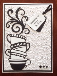 Black & White stacked tea cups