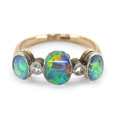 Vintage 9 Carat Gold Triple Opal Paste Ring | Clarice Jewellery | Vintage Costume Jewellery #opalsaustralia