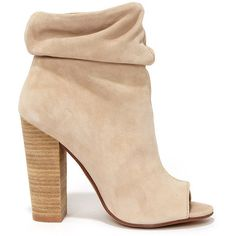 Chinese Laundry Laurel Nude Kid Suede Peep Toe Booties (575 BRL) ❤ liked on Polyvore featuring shoes, boots, ankle booties, ankle boots, suede ankle booties, suede bootie, peep toe ankle boots, suede booties and high heel ankle boots