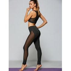 Casual See Through Yarn Patch Sport Bra+pants Best Cardio Workout Yoga Stretches For Abs Stretches For Abs, Zumba, Athleisure, Best Cardio Workout, Cardio Fitness, Health Fitness, Look Girl, Mesh Leggings, Poses