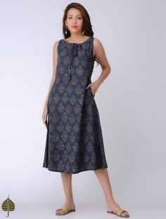 Indigo Tie-up Ajrakh-printed Cotton Slub Dress by Jaypore
