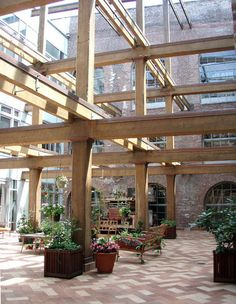 An atrium at the Red Hook warehouse in Brooklyn.