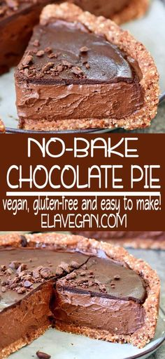 This is the best vegan chocolate pie with healthy avocado and sweet potato! This creamy no-bake cake is dairy-free, egg-free, gluten-free, soy-free, and easy to make. A delicious dessert which is also great for a birthday party! Easy Chocolate Pie, Best Vegan Chocolate, Chocolate Desserts, Tart Recipes, Healthy Dessert Recipes, Vegan Recipes, Healthy Birthday Desserts, Healthy Vegan Desserts, Healthy Cake