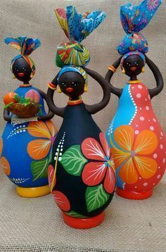 Pin on Gourds Doll Crafts, Clay Crafts, Diy And Crafts, Crafts For Kids, Wine Bottle Art, Wine Bottle Crafts, African Dolls, Plastic Bottle Crafts, Painted Gourds