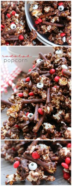 Rudolph Popcorn a cinnamon chocolate kettle corn, mixed with red hot candies and pretzel sticks, as his nose and antlers.