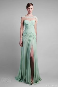gemy maalouf spring 2014 couture pale green mint dress illusion sleeves