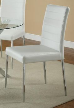 Coaster Home Furnishings Contemporary Dining Chair, Chrome/White, Set of 4