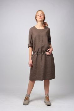 This cosy youthful natural linen dress will impart the felling of freedom and…