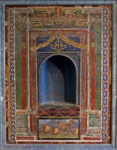 Niche embellished w/glass paste mosaic (w/chickens) recovered from The House of the Skeleton, Herculaneum