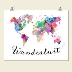 large watercolor world map wanderlust print printable world map wall art decor poster sign