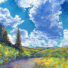 Finger Painted - Edge of Canyon Road | 36x36in   Original Available  |  Buy Prints