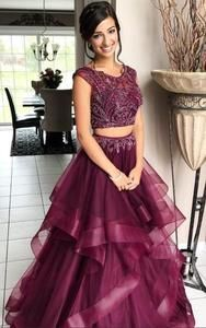 Two Pieces Beaded Long Prom Dress Fashion Long School Dance Dresses Custom Made Long Tulle Beadings Graduation Party Dress Sweet Dress Elegant Prom Dresses, Cheap Prom Dresses, Prom Party Dresses, Dresses For Teens, Evening Dresses, Crazy Dresses, Graduation Dresses, Birthday Dresses, Homecoming Dresses