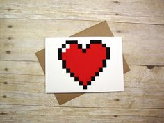 Nerd I Love You Greeting Card -- Pixel Heart.