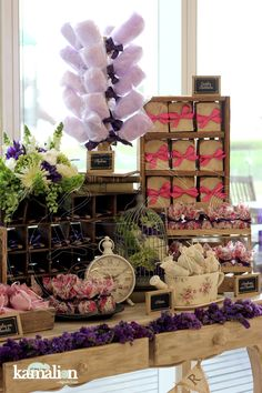 www.kamalion.com.mx - Mesa de Dulces / Candy Bar / Postres / Bautizo / Morado & Rosa / Purple & Pink / Vintage / Rustic Decor / Algodones.