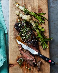 Skirt steak gets a flavor boost from chimichurri, the piquant Argentinean condiment that includes fresh herbs, garlic, vinegar and olive oil.