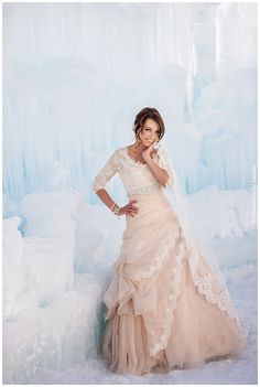 Midway Ice Castle Wedding Photography I don't even begin to dream big enough! What a gorgeous wedding dress! Back to the idea board for me! Modest Wedding Gowns, Wedding Dress Sleeves, Modest Dresses, Bridal Dresses, Modest Clothing, Lds, Gown Gallery, Blush Gown, Simple Weddings