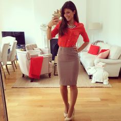 Bright Aritzia blouse and pencil skirt, accessorized with the perfect watch and necklace...and I adore those shoes!