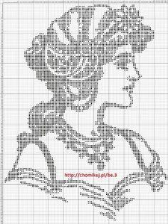 0 point de croix portrait femme monochrome - cross stitch lady portrait