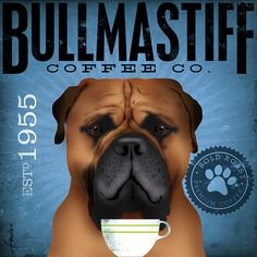 Bullmastiff Coffee Company original graphic art on by geministudio, $80.00