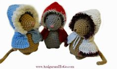 crochet mice with jackets on ~ free patterns