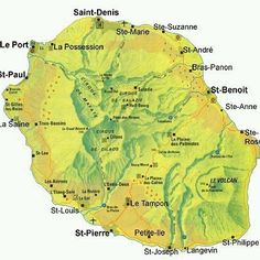 Map of Reunion, off the Eastern coast of Africa Volcan Reunion, St Joseph, St Leu, Reunion 974, Ste Anne, French West Indies, Saint Denis, Island Map, France