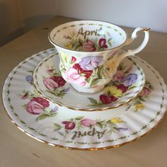 """Royal Albert """"Sweet Pea"""" April Flower of the Month Series Vintage Teacup Saucer Plate, English Floral Tea Cup Trio, Birthday Gift by CupandOwl on Etsy"""