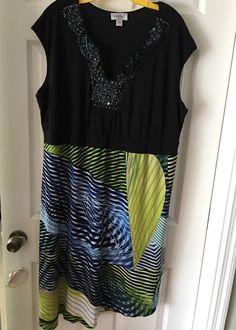 Dress Plus Size 22/24 Jeweled Neckline, Black Stretch, Asymmetrical, Print EUC #Avenue #EmpireWaist #Casual