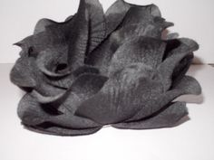 Large Black Flower Hair Barrette Hand Sewn and Handmade by DeniseDoesCouture #Handmade #Clips
