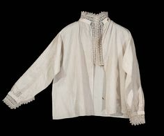 17th century with 18th century alterations, Europe - Woman's dressing jacket - Linen; linen bobbin lace