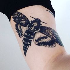Acherontia Atropos - Death Head's Moth - Upper Arm Tattoo - Artwork by Maggie Henstorf - Tattoo by Nate Mastrud of Addictions Tattoo & Piercing in Fargo, ND.