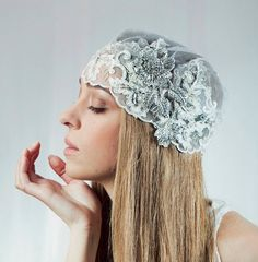 Bridal Blooming Cap Veil , Vintage weddin head piece , Crystal lace Bridal hair cap  -  Style 200 - Made to Order. $189.00, via Etsy.