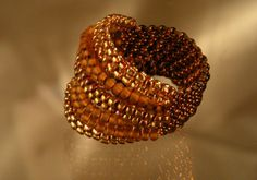 ** Autumn Colored Seed Bead Weaving Ring @HannekeWels