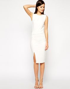 Image 1 of ASOS Pencil Dress with Structured Drape