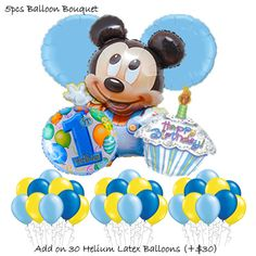 Baby Mickey Mouse 1st Birthday Balloon Bouquet
