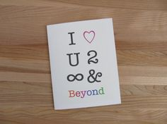 I Love You To Infinity And Beyond - Romantic Birthday, Valentine, Anniversary Card for Him or Her (available with glitter infinity option)