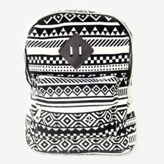 Bold black and white patterns give this old school backpack an updated twist.