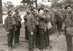 Territorial Argylls practice putting on gas masks before the Second World War