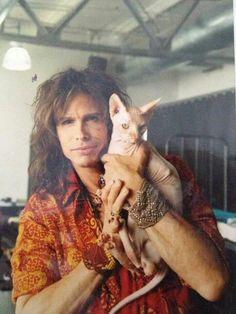 Steve Tyler & hairless cat