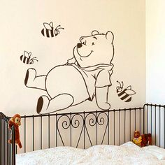 Winnie The Pooh Wall Decals Cartoon Bees by WallDecalswithLove