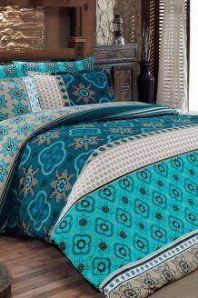 Conjunto de edredão algodão 58 fios/cm² Kilim - Azul e cinzento