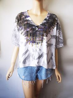 GLITTER // Vintage 80s Splatter Paint Shirt Boxy Crop Top Squiggle Abstract 1980s Graffiti New Wave Festival Clothing Womens OSFM