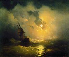 «Storm on the sea at night 89h106 1849» Ivan Konstantinovich Aivazovsky