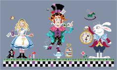 Alice, The Mad Hatter & White Rabbit from the Brooke's Books Wonderland Cross Stitch Collection by Brooke Nolan http://www.craftsy.com/user/1333992/pattern-store?_ct=fhevybu-ikrdql-fqjjuhdijehu