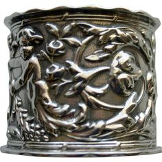 Antique (1905) English Sterling Repousse Napkin Ring with Cherubs